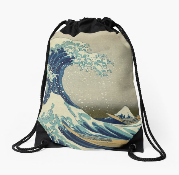 The Classic Japanese Great Wave off Kanagawa by Hokusai Drawstring Bags