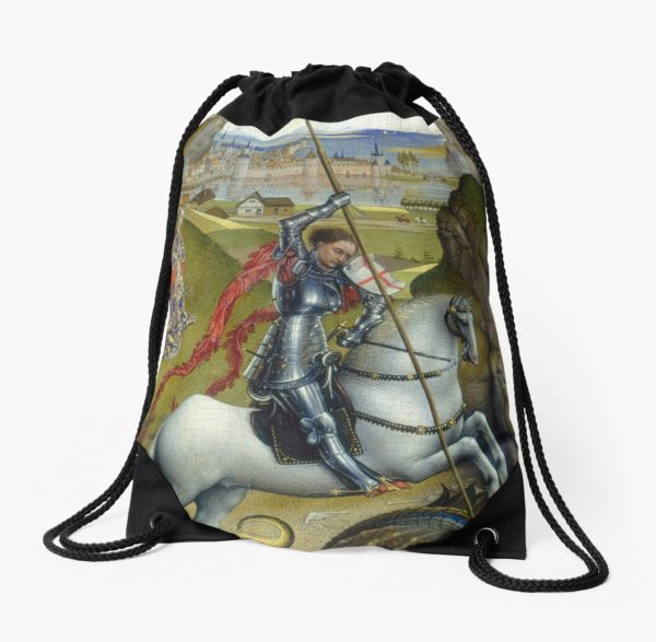 Saint George and the Dragon Oil Painting by Rogier van der Weyden Drawstring Bags