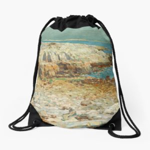 A North East Headland Oil Painting by Childe Hassam Drawstring Bags