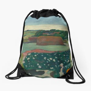 Haystacks in Brittany Oil Painting by Paul Gauguin Drawstring Bags