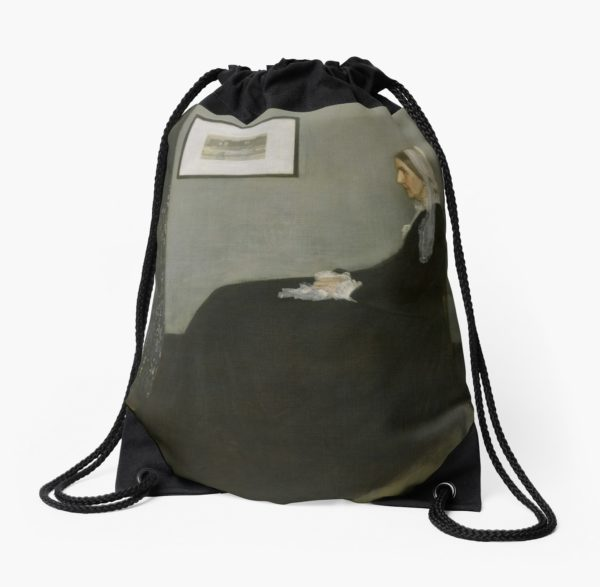 Whistlers Mother Oil Painting by James McNeill Whistler Drawstring Bags