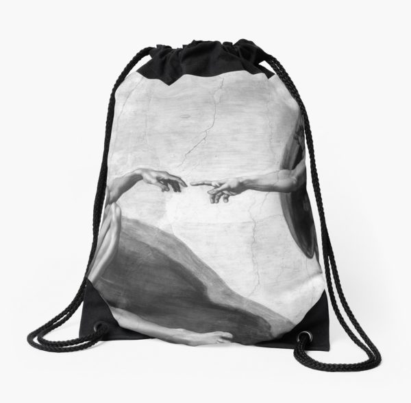 Black and White Creation of Adam Painting by Michelangelo Sistine Chapel Drawstring Bags