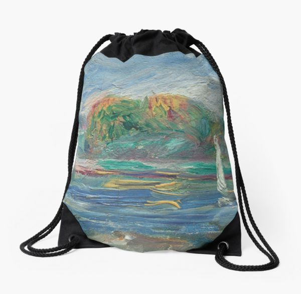 The Blue River Oil Painting by Auguste Renoir Drawstring Bags