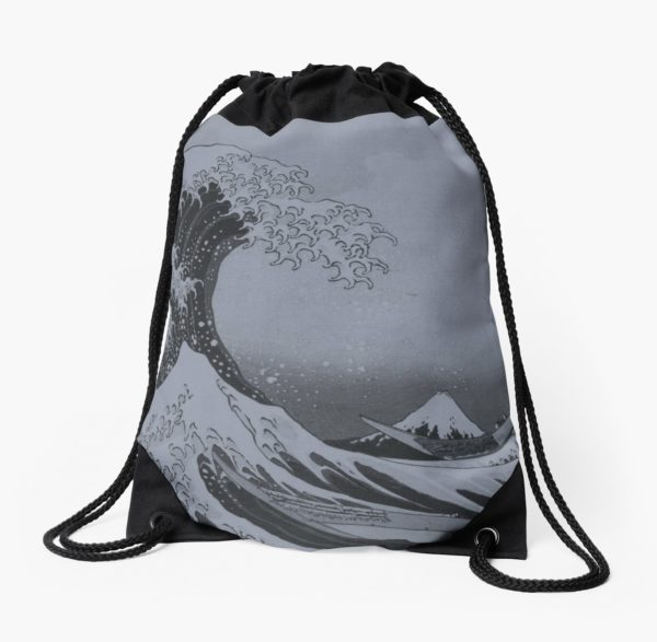 Silver Japanese Great Wave off Kanagawa by Hokusai Drawstring Bags