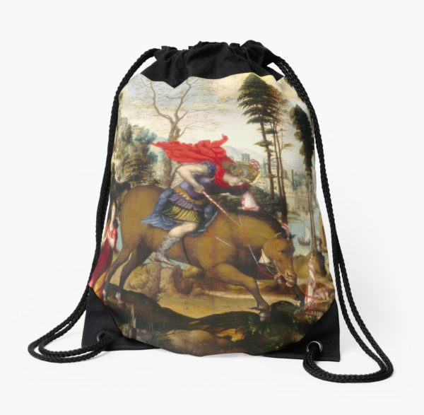 Saint George and the Dragon Oil Painting by Sodoma Drawstring Bags