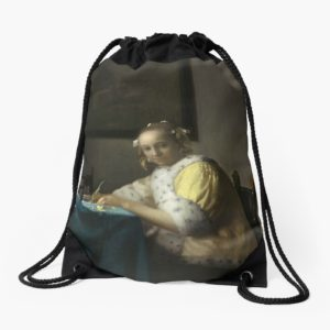 A Lady Writing Oil Painting by Johannes Vermeer Drawstring Bags