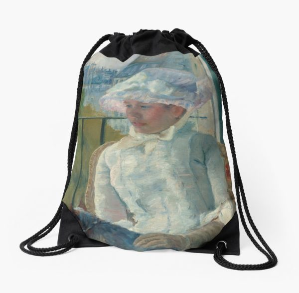 Young Girl at a Window Oil Painting by Mary Stevenson Cassatt Drawstring Bags