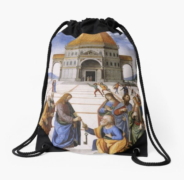 The Delivery of the Keys Painting by Perugino Sistine Chapel Drawstring Bags