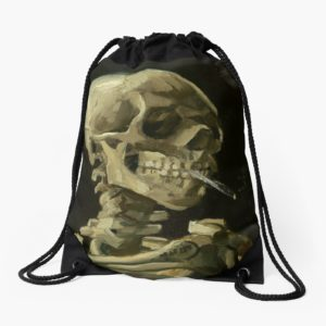 Skull of a Skeleton with Burning Cigarette by Vincent van Gogh Drawstring Bags