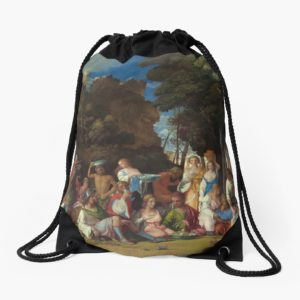 The Feast of the Gods Painting by Giovanni Bellini and Titian Drawstring Bags