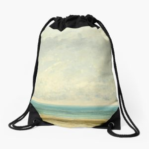 Calm Sea Oil Painting by Gustave Courbet Drawstring Bags