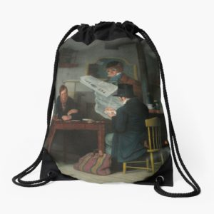 Waiting for the Stage Oil Painting by Richard Caton Woodville Drawstring Bags