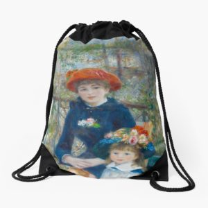 Two Sisters on the Terrace Oil Painting by Auguste Renoir Drawstring Bags