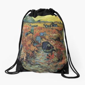 The Red Vineyards Oil Painting on Burlap by Vincent van Gogh Drawstring Bags