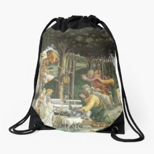 Trials of Moses Painting by Botticelli - Sistine Chapel Drawstring Bags
