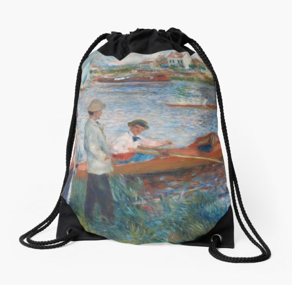 Oarsmen at Chatou Painting by Auguste Renoir Drawstring Bags