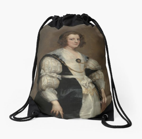 Lady with a Fan Oil Painting by Sir Anthony van Dyck Drawstring Bags