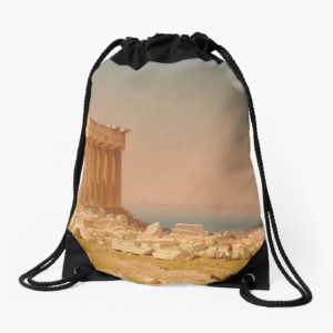 Ruins of the Parthenon Oil Painting by Sanford Robinson Gifford Drawstring Bags