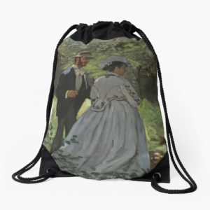 Bazille and Camille Painting by Claude Monet Drawstring Bags