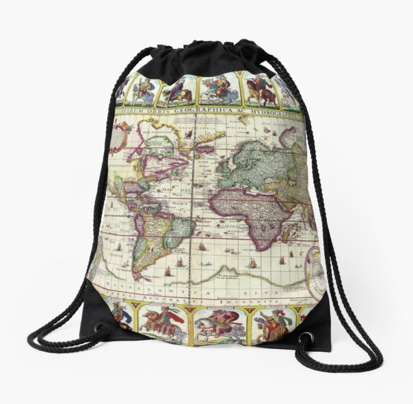 Vintage 1652 World Map by Claes Janszoon Visscher Drawstring Bags