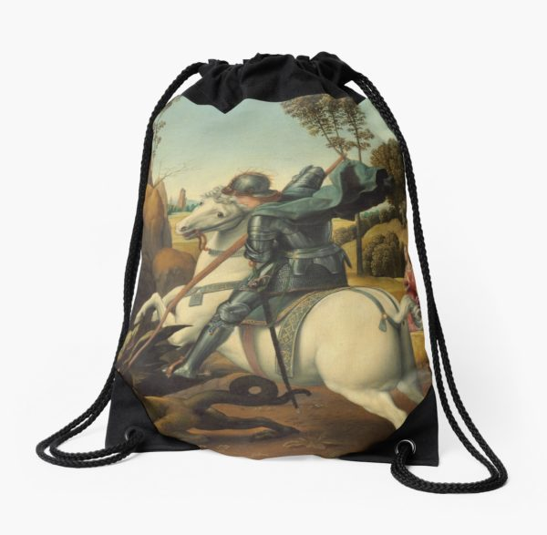 Saint George and the Dragon Oil Painting By Raphael Drawstring Bags