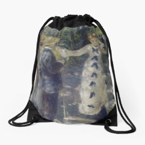 The Swing Oil Painting by Auguste Renoir Drawstring Bags