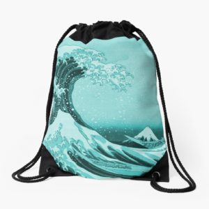 Aqua Blue Japanese Great Wave off Kanagawa by Hokusai Drawstring Bags