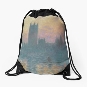 The Houses of Parliament  Sunset by Claude Monet Drawstring Bags