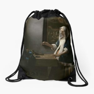 Woman Holding a Balance Oil Painting by Johannes Vermeer Drawstring Bags