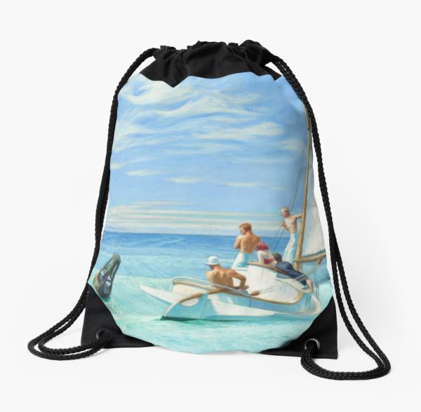 Ground Swell Oil Painting by Edward Hopper Drawstring Bags