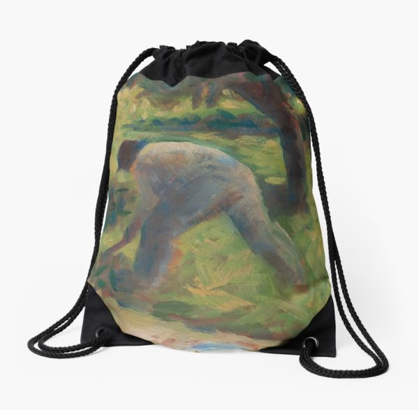 Peasant with a Hoe Oil Painting by Georges Seurat Drawstring Bags