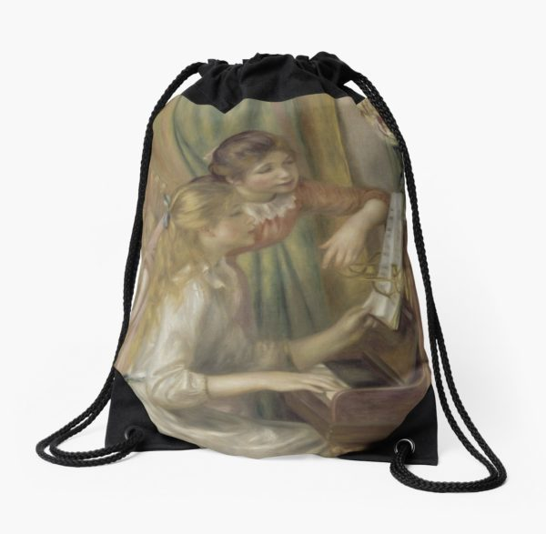 Young Girls at the Piano Oil Painting by Pierre Auguste Renoir Drawstring Bags