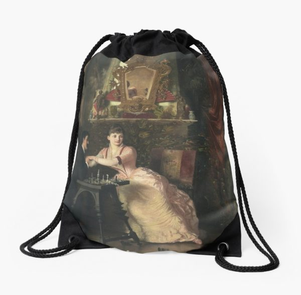 The Proposal Oil Painting by Knut Ekwall Drawstring Bags