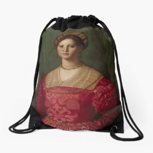 A Young Woman and Her Little Boy Oil Painting by Agnolo Bronzino Drawstring Bags