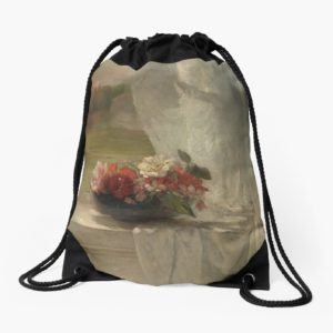 Flowers on a Window Ledge Oil Painting by John La Farge Drawstring Bags