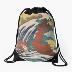 Yoshino Waterfalls Where Yoshitsune Washed his Horse by Katsushika Hokusai Drawstring Bags