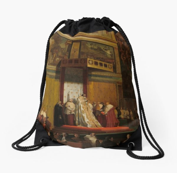 Pope Pius VII in the Sistine Chapel Oil Painting by Jean-Auguste-Dominique Ingres Drawstring Bags