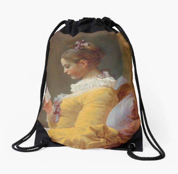 Young Girl Reading Painting by Jean-Honoré Fragonard Drawstring Bags