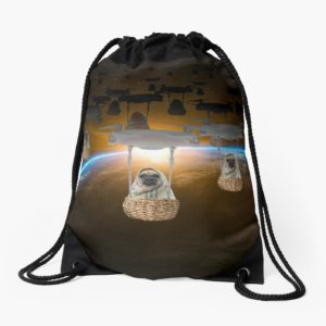Pugvasion Alien Invasion by Drone Drawstring Bags