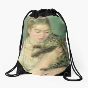 Woman with a Cat Oil Painting by Auguste Renoir Drawstring Bags