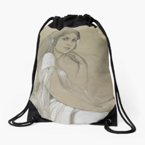 The artists daughter by Jaroslava Drawing Drawstring Bags