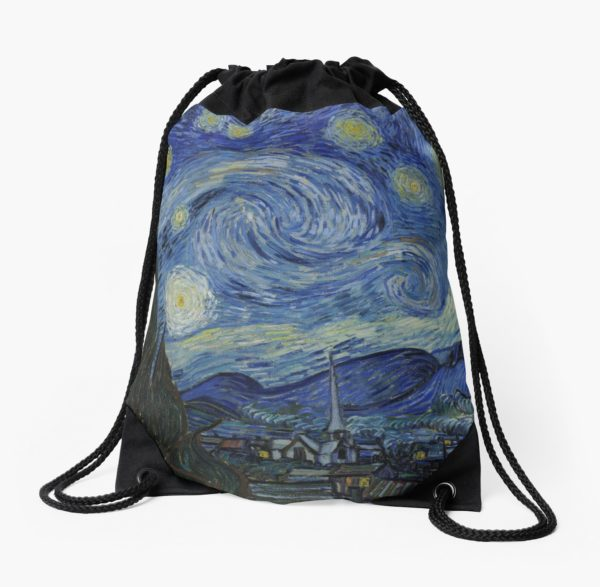 Starry Night Oil painting by Vincent van Gogh Drawstring Bags