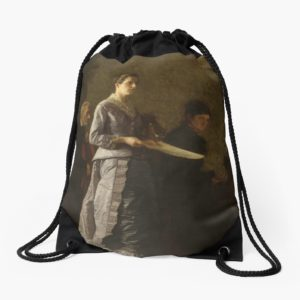 Singing a Pathetic Song Oil Painting by Thomas Eakins Drawstring Bags