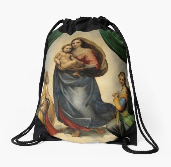 The Sistine Madonna Oil Painting by Raphael Drawstring Bags
