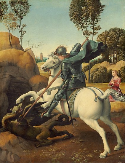 Saint George and the Dragon Oil Painting By Raphael Posters