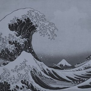 Silver Japanese Great Wave off Kanagawa by Hokusai Posters