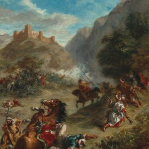 Arabs Skirmishing in the Mountains Oil Painting by Eugène Delacroix Posters
