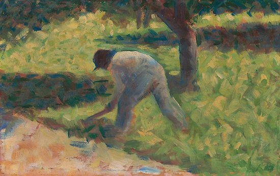 Peasant with a Hoe Oil Painting by Georges Seurat Posters