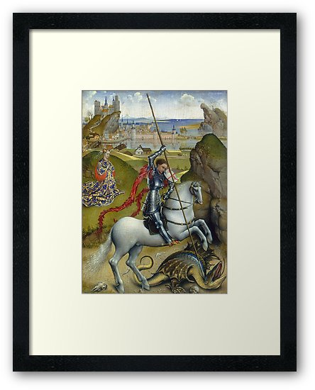 Saint George and the Dragon Oil Painting by Rogier van der Weyden Framed Prints
