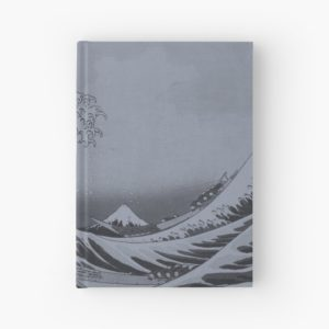 Silver Japanese Great Wave off Kanagawa by Hokusai Hardcover Journals